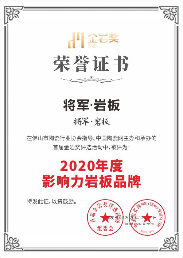 2020年度影响力岩板品牌