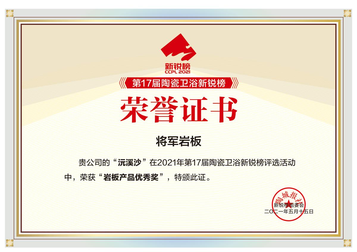 岩板产品优秀奖-证书